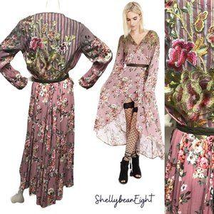 ARATTA Silent Journey Wrap Dress Duster EMBROID M